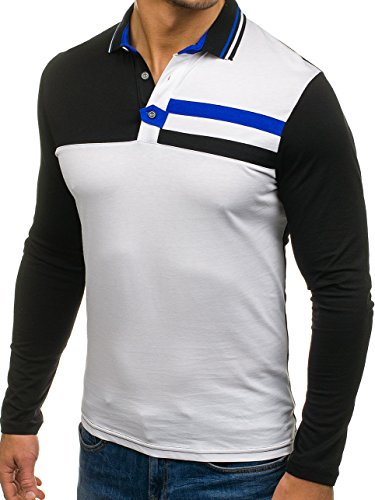 BOLF Herren Longsleeve Sweatshirt Langarm Pulli Figurbetont Farbwahl 1A1 MIX Weiß_0729