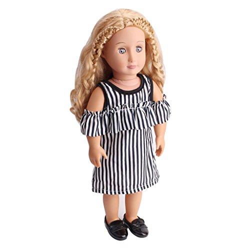 B Baosity Élégant Robe Rayée Vêtements pour 18inch American Girl Our Generation Dolls