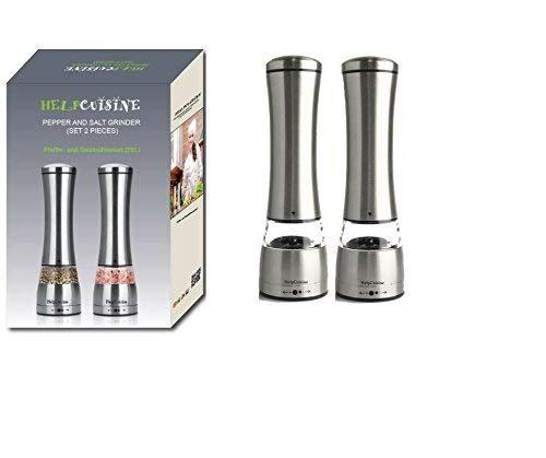 HelpCuisine® Premium Qualität manuelle Gewürzmühle Pfeffermühle Salzmühle aus hochwertigen Edelstahl Pfeffermühle mit einstellbare Mahlgruppe und Keramikmahlwerk. (2St. Silber)