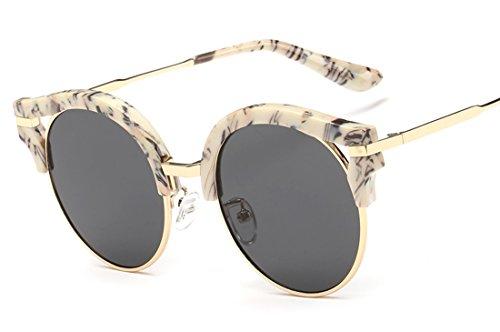 Laura Fata Vintage Nuovo Design Colorful Revo rotondi lenti Cateye occhiali da sole polarizzati per women-white