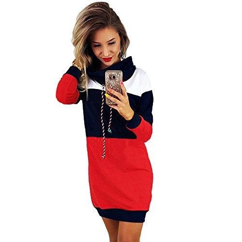 id! Omens Casual Wasserfallausschnitt Langarm Streifen Color Block Short T Shirt Sweatshirt Kleider Sexy Elegantes Kleid ()