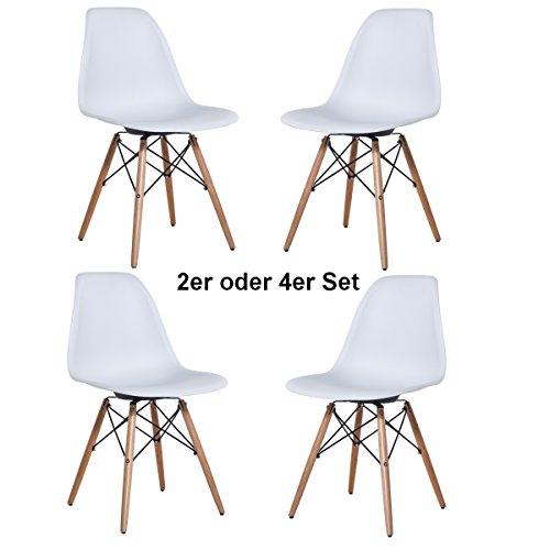 2x oder 4x Delman Esszimmerstuhl Esszimmerstühle Wohnzimmerstühle Designerstühle Retro Design weiß 02-0010WT