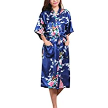 waymoda mujeres del satén de seda ropa de dormir Albornoz, pavo real y flores patrón Kimono Pijama, 10+ color, 5tamaños opcional–largo estilo
