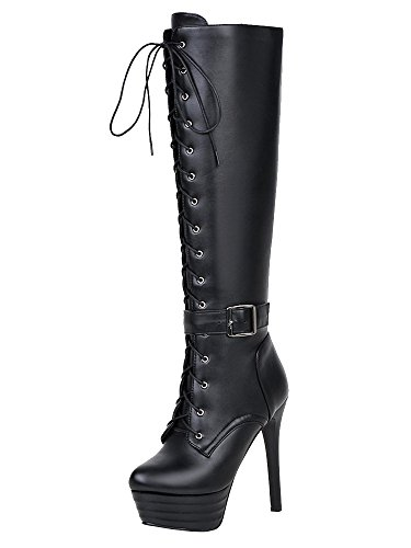 AIYOUMEI Damen Plateau High Heels Kniehohe Stiefel mit Schnürung Warm Winter Stiefel Schuhe (Schaft-stiefel Kniehohe)