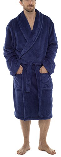 Tom Franks Hombre Forro Polar Extrasuave Bata - Azul, Medium / Large