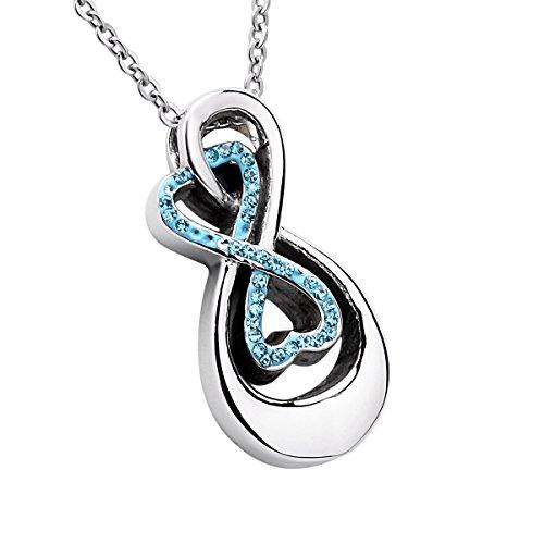 Doppio infinito simbolo memorial urna ciondolo collana blu strass in acciaio inox ceneri urna gioielli