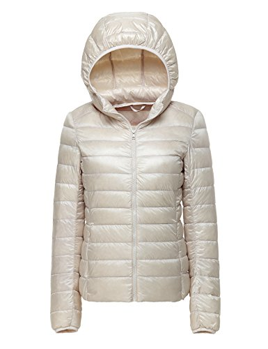 CHERRY CHICK Women's Packable Hooded Down Jacket Medium Dirty White