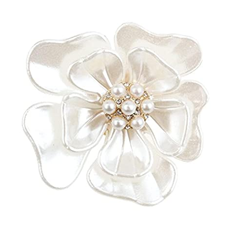 Brooches & Pins, Transer® New Flash Diamond Pearl Corsage Camellia Brooch Scarf Buckle Brooch Pin for Christmas Gifts/ Presents