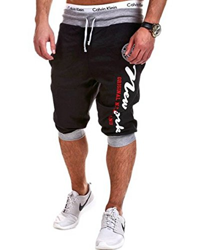 Men's Hereem Elastic Fitness Casual Shorts Black Grey