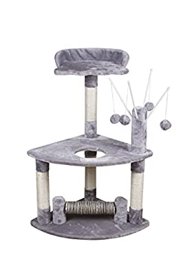 Cat Scratcher Cat Tree Activity Centre Scratching Post Climbing Tree Sisal Cat Scratching Post Play Post Bed for Cat 48 x 48 x 90 cm colour: Light Grey (8055HG)