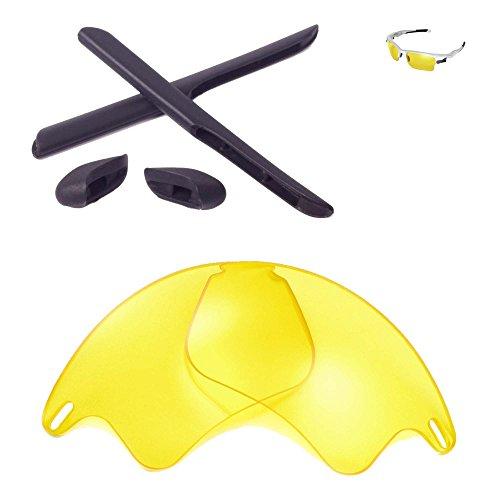 Walleva Ersatzgläser oder Linsen / Gummi für Oakley Fast Jacket XL Sonnenbrille - 26 Optionen (Gelbe Nicht-Polarisierte Linsen + Schwarzer Gummi)