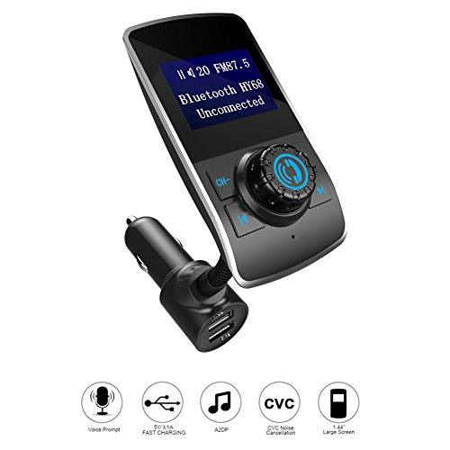 Bluetooth FM Transmitter, Acouto HY-68 FM Transmitter Car Kit MP3 Player Freisprecheinrichtung 3.1A Dual USB Ladegerät, AUX-Eingang,TF-Kartenslot , drahtlose Übertragung zum Autoradio vom MP3-Player, (160g Mp3-player)