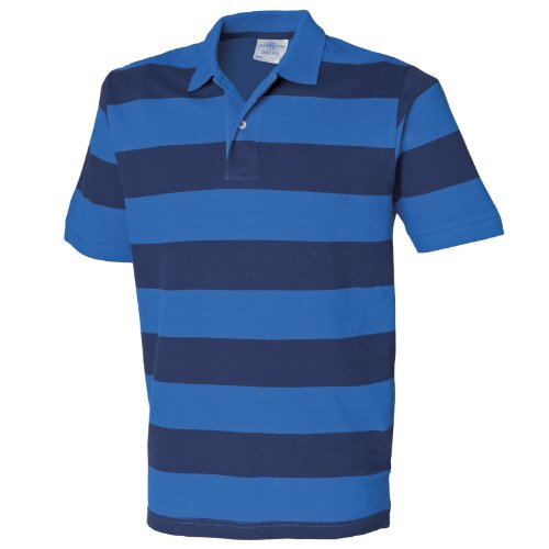 MAKZ Herren Gestreift Pique Polo Blau