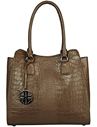 305c55de46a6e SILVIO TOSSI Damen Leder Handtasche Schultertasche Cappuccino Modell 11381- 02
