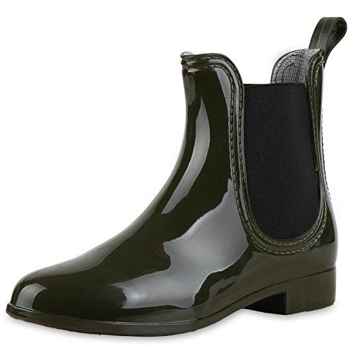 Damen Lack Stiefeletten Gummistiefel Chelsea Boots Schuhe Gr. 36-41 Dunkelgrün
