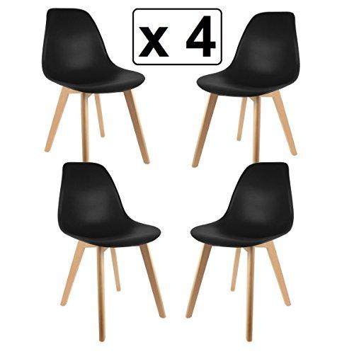 Lote de 4 sillas diseño - Estilo Contemporáneo - Color NEGRO