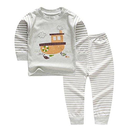 Baby Jungen Mädchen Baumwolle Fleece Pyjamas, Meedot Cute Cartoon Print Longjohns Unterwäsche Set für 0-5 Jahre Alt Kinder Green Boat 100cm Fleece-schlafanzug Baby