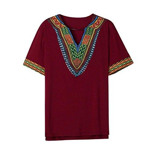 VEMOW Mode Sommer Männer Slim Fit V-Ausschnitt Gedruckt Muscle T-Shirt Beiläufige T-stücke Pullover Tops Bluse (EU-52/CN-L, Weinrot)