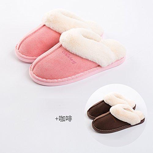 DogHaccd pantofole,Il cotone pantofole donne eleganti fondo spesso giovane inverno caldo al coperto le donne in stato di gravidanza non - slip home uomini semplici scarpe home Rosa + caffè