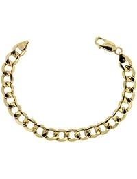 Adara 9 ct Yellow Gold Hollow Six Sided Cb Bracelet of Length 18.5 cm