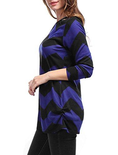 Allegra K Femmes Zig-Zag Modèle Tricot Laché Tunique Chemise Bleu