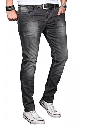 A. Salvarini Designer Herren Jeans Hose Basic Stretch Jeanshose Regular Slim Dark Grey