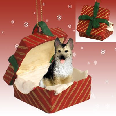 GERMAN SHEPHERD Dog Tan n Black sits in a Red Gift Box Christmas Ornament New RGBD08A by Eyedeal Figurines -