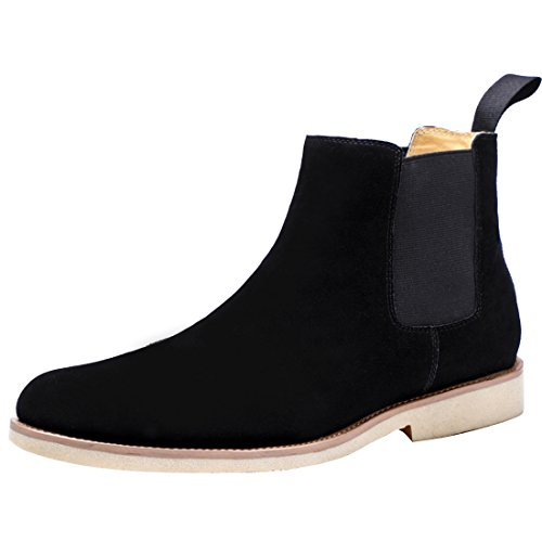 Santimon Herren Chelsea Boots Lederoptik Business Suede Stylische Stiefeletten Knöchelhohe Stiefel Casual Schuhe Schwarz 48 EU (Suede Casual Stiefel)