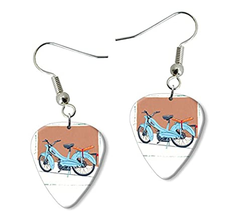 Mobylette Moped Martin Wiscombe Guitare Médiator Pick Boucles d'oreilles Earrings Vintage Retro
