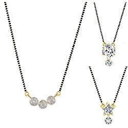 Archi Collection Jewellery Combo of Gold and Rhodium Plated American Diamond Mangalsutra Pendant with Chain for Women
