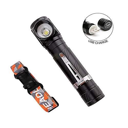 mini taschenlampe usb taktische led taschenlampe wiederaufladbar rechtwinklig stirnlampe 1000 lumen mit Magnetfuß Clip für Camping Wandern