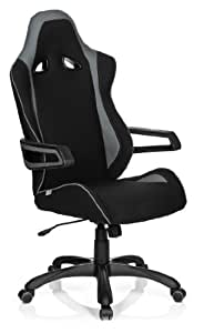 hjh OFFICE 621843 Gaming PC Stuhl RACER PRO II Stoff schwarz grau, hohe Rückenlehne, abriebfester Stoff, ideal zum Zocken, feste Armlehne, Bürostuhl Sessel, Racer Gaming, Racing Stuhl, XXL Chefsessel, Jugendstuhl