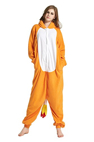 URVIP Erwachsene Unisex Jumpsuit Tier Cartoon Fasching Halloween Pyjama Kostüm Onesie Fleece-Overall Schlafanzug Orange Drache Large