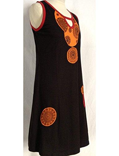 ROBE COTON JERSEY ET IMPRIME MANDALAS Noir/Rouge/Orange