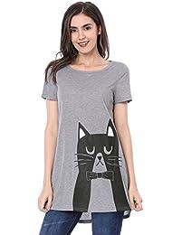 Allegra K Women's Cat Pattern Short Sleeves Round Neck Tunic Tee
