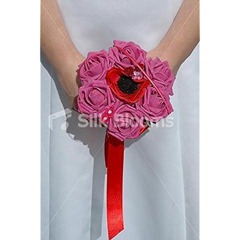 Red Poppy-Anemone & Pink Roses Mini Posy, per nozze, motivo: fiori - Anemone Bouquet Da Sposa