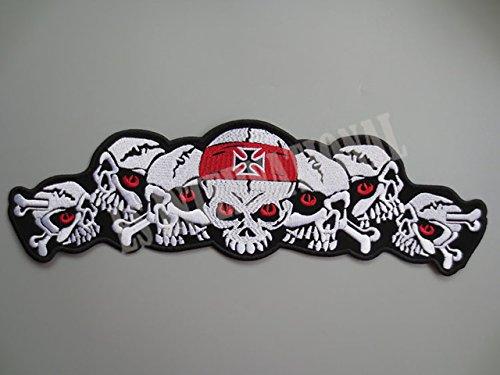 Nuovo cranio grande ricamo patch per il rivestimento posteriore della maglia Motorcycle Club motociclista fuorilegge MC 35 centimetri * 10,5 centimetri