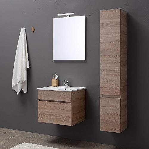Mobile bagno sospeso da 60 cm con cassetto, specchio e lavabo rovere | serie sole