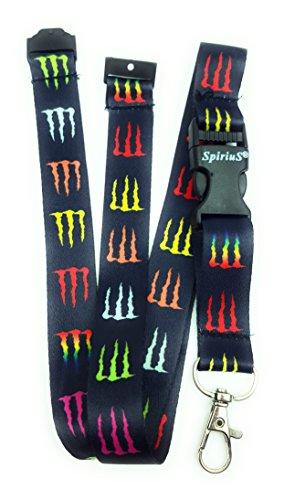 Correa para el cuello SpiriuS con clip de metal resistente para soportes de tarjetas de identificación y llavero, color Black Colourful M