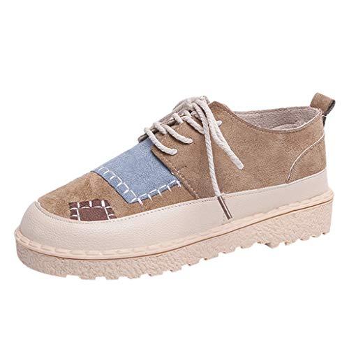 Yvelands Mujeres Liquidación Moda para Mujer Punta Redonda Plana Patchwork Mocasines Casual Zapatillas de Deporte Zapatos(Marrón,39)