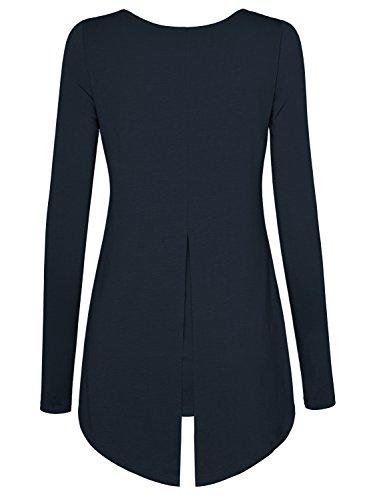 DJT Damen Langarmshirt Rundkragen Asymmetrisch Faux Twinset T-Shirt Dunkelblau