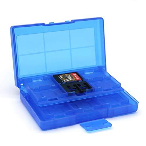 Tarjetas de Juego portátiles 24 en 1 Estuche de Almacenamiento y 2 Tapas analógicas para Interruptor Caja de Almacenamiento de Tarjeta de Juego para Nintend Switch NS (Color: Aleatorio)