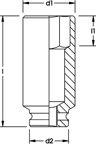 Elora 0792120535100 Kraftschrauber-Einsatz 1, extra tief, 6-Kant, 792LTA-2 1/4 Zoll AF 0
