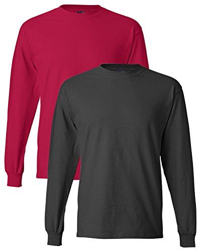 Hanes uomo long-sleeve beefy-t camicia (confezione da 2) 1 Red / 1 Smoke Grey