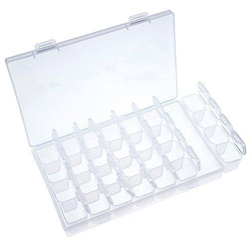 Klar Kunststoff Aufbewahrungsbox Einstellbare Perlen Büchse Lagerung Organizer mit 28 Kleinen Fächern (Kunststoff-boxen Klar)