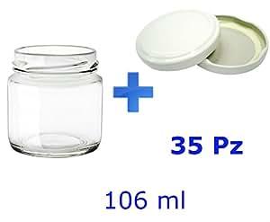 avir lot de 35 pots en verre pour confiture et nourriture pour b b 106 ml avec bouchon. Black Bedroom Furniture Sets. Home Design Ideas