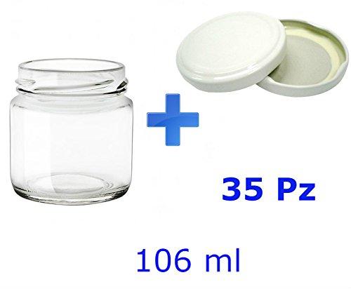 35 Barattoli in vetro per marmellate e omogeneizzati 106 ml con tappo