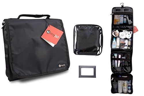 Edle Kosmetiktasche - Faltbare, kompakte Kulturtasche für Herren / Damen / Kinder, praktischer Kulturbeutel mit Aufhängung, verwendbar als Beautycase oder als Waschbeutel für Reisen in Schwarz