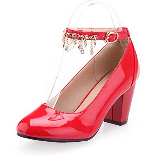 VogueZone009 Damen Pu Leder Hoher Absatz Rund Zehe Eingelegt Schnalle Pumps Schuhe Rot