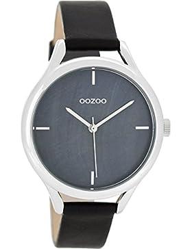 Oozoo Damenuhr mit Lederband 38 MM Perlmutt Grau/Schwarz C8349